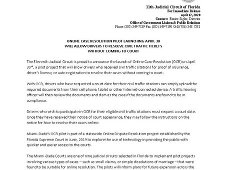 MEDIA ADVISORY: Online Case Resolution Pilot re: Civil Traffic Tickets Launching April 30