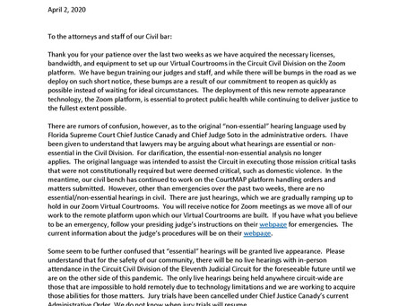 Open Letter to Civil Bar from the Honorable Jennifer D. Bailey