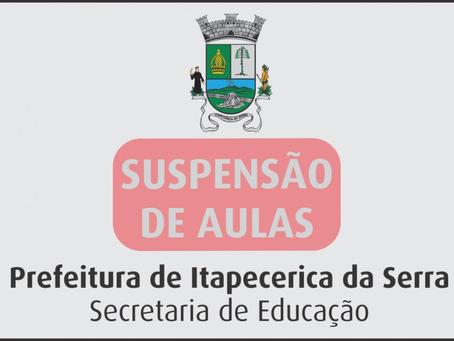 Suspensão de aulas nos dias 29 e 30 de maio