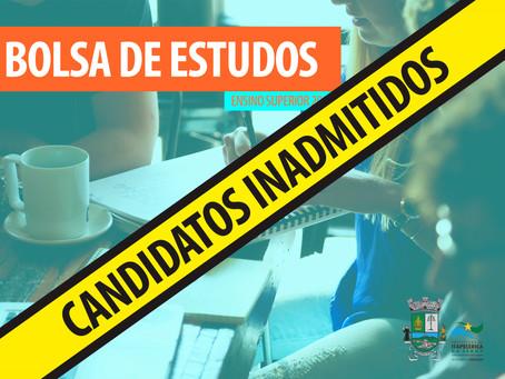 BOLSA DE ESTUDOS: EDUCAÇÃO DIVULGA RELAÇÃO NOMINAL DE CANDIDATOS INADMITIDOS 2019