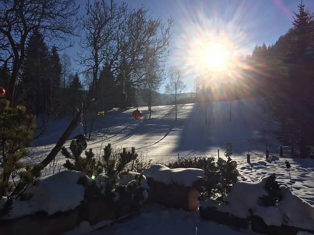 Zima na Žabaštejně výhled z terasy