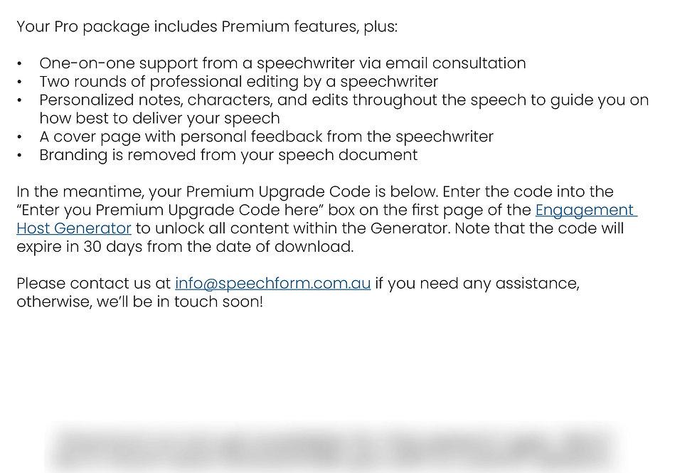 Pro Upgrade - Engagement Host Speech