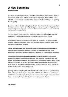 Darryn Sara - Thank You Speech Notes - 2