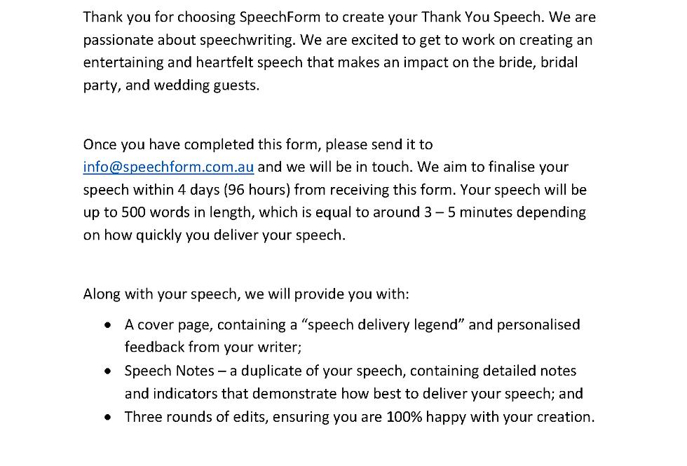 Thank You Speech - Custom (500 words)