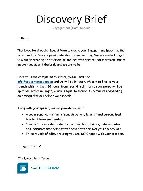 Engagement (Parent or Host) Speech - Custom (500 words)