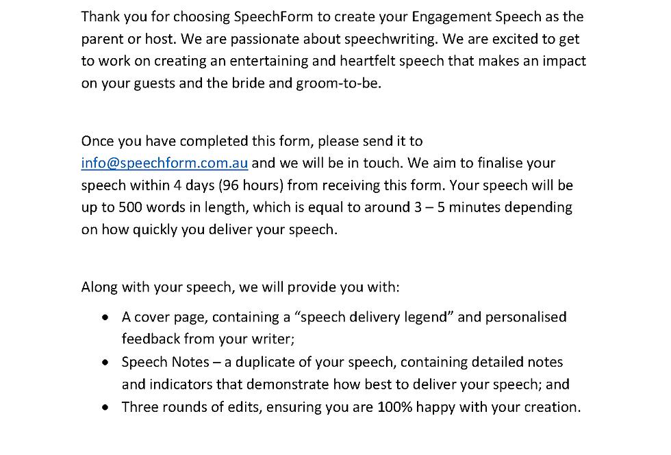 Engagement (Parent or Host) Speech - Custom (500 words)