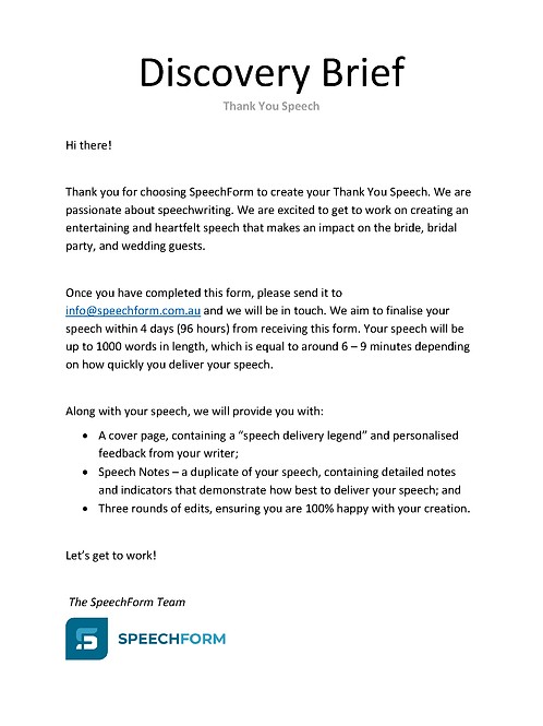Thank You Speech - Custom (1000 words)