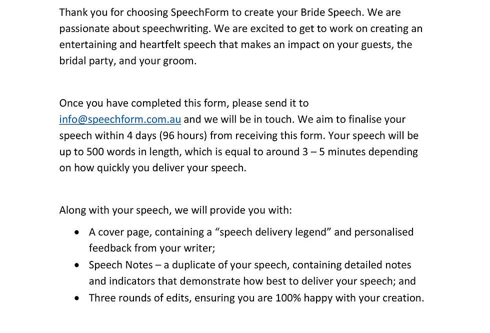 Bride Speech - Custom (500 words)