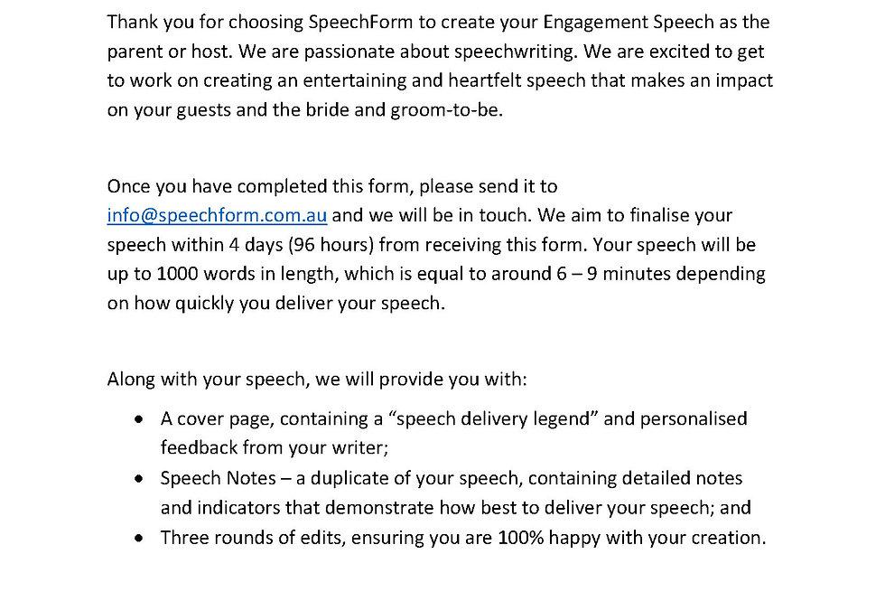 Engagement (Parent or Host) Speech - Custom (1000 words)