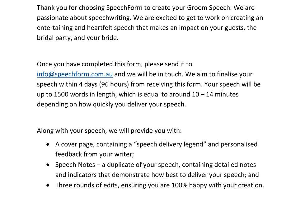 Groom Speech - Custom (1500 words)