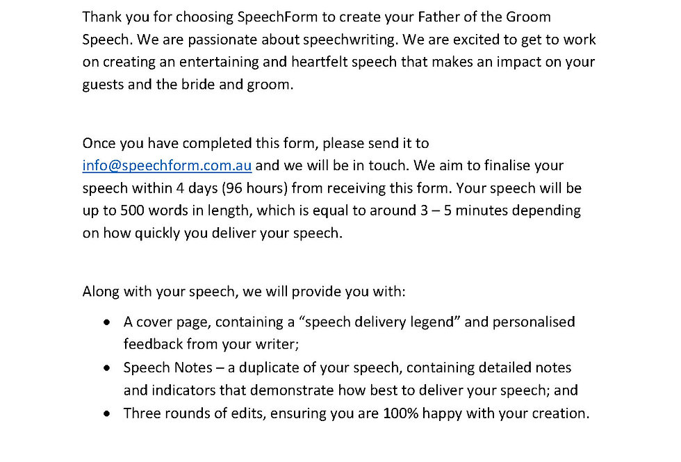 Father of the Groom Speech - Custom (500 words)