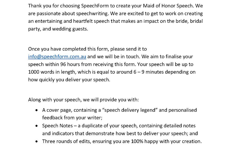 Maid of Honor - Custom (1000 words)