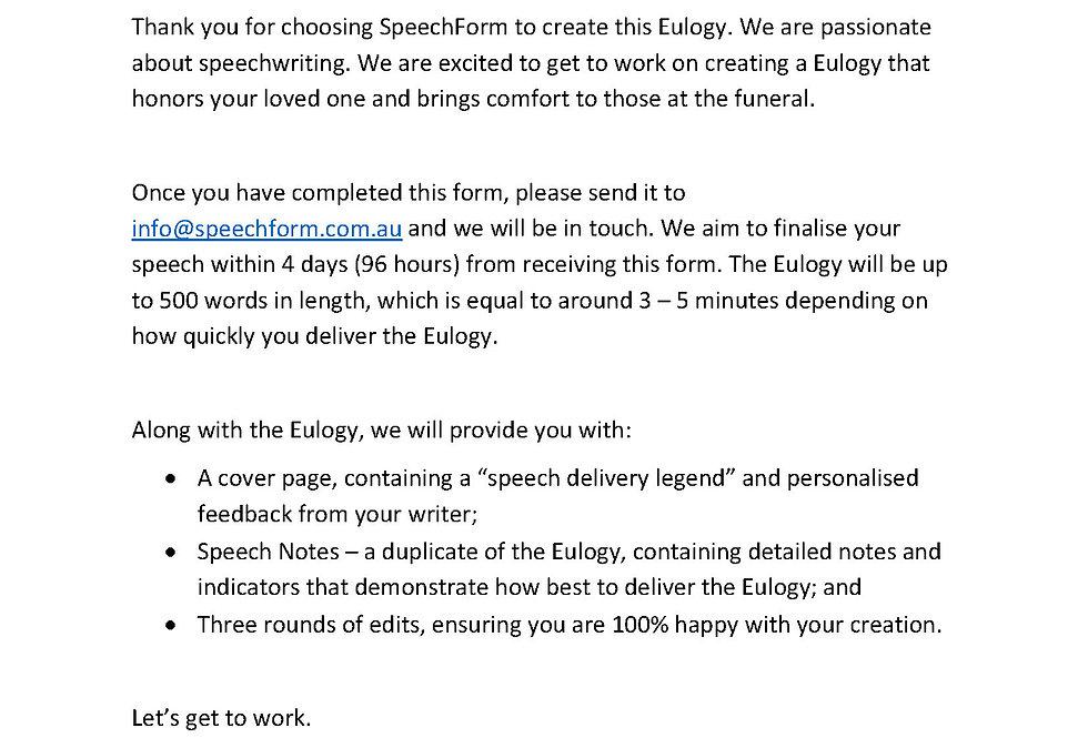 Eulogy - Custom (500 words)