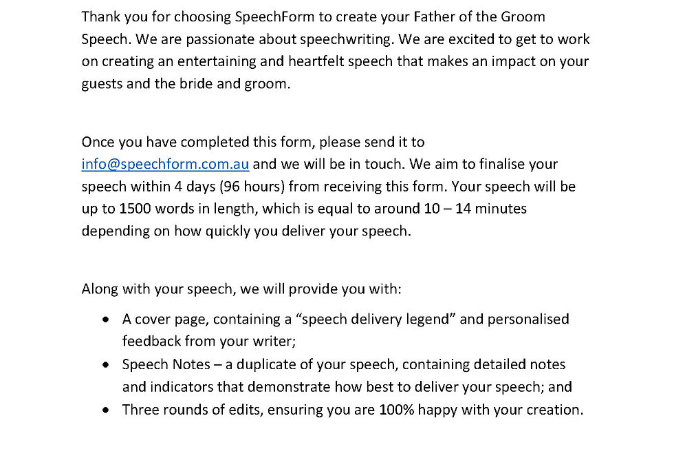 Father of the Groom Speech - Custom (1500 words)