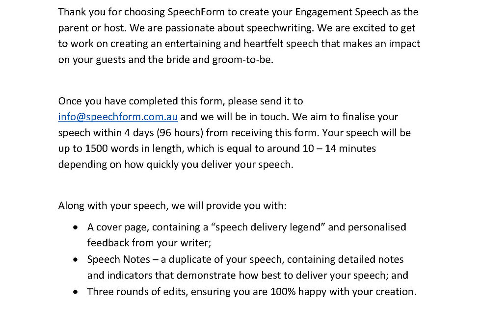 Engagement (Parent or Host) Speech - Custom (1500 words)