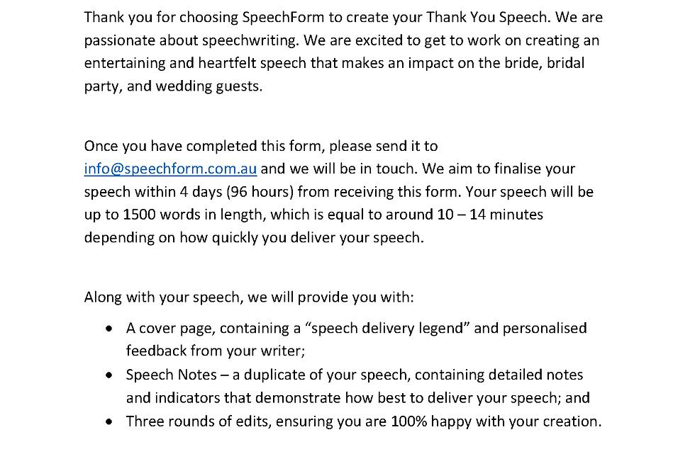 Engagement (Parent or Host) Speech - Custom (1500 words)