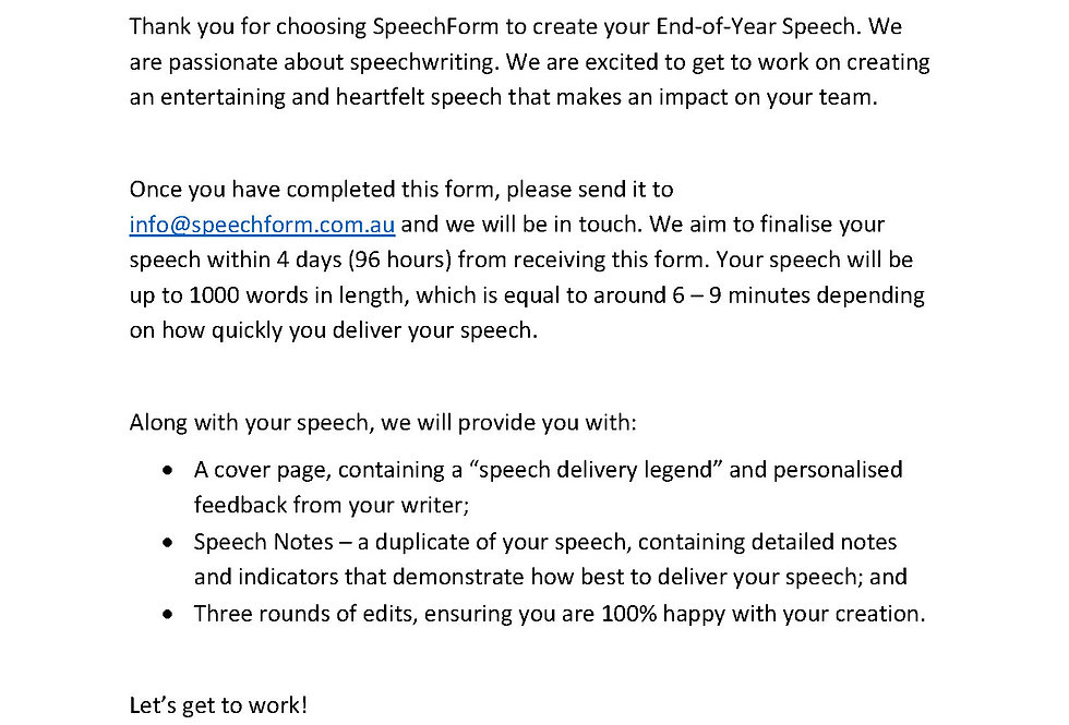 End-of-Year Speech - Custom (1000 words)