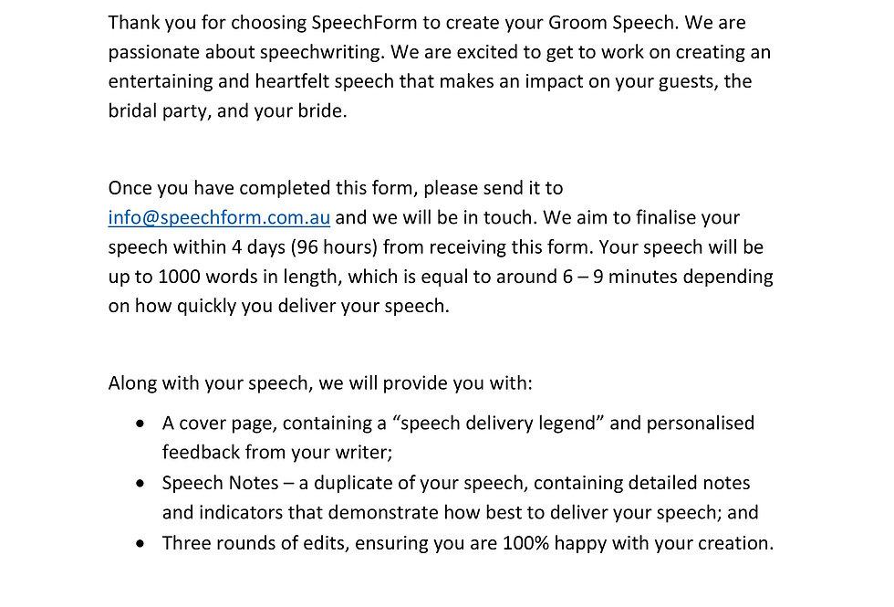 Groom Speech - Custom (1000 words)