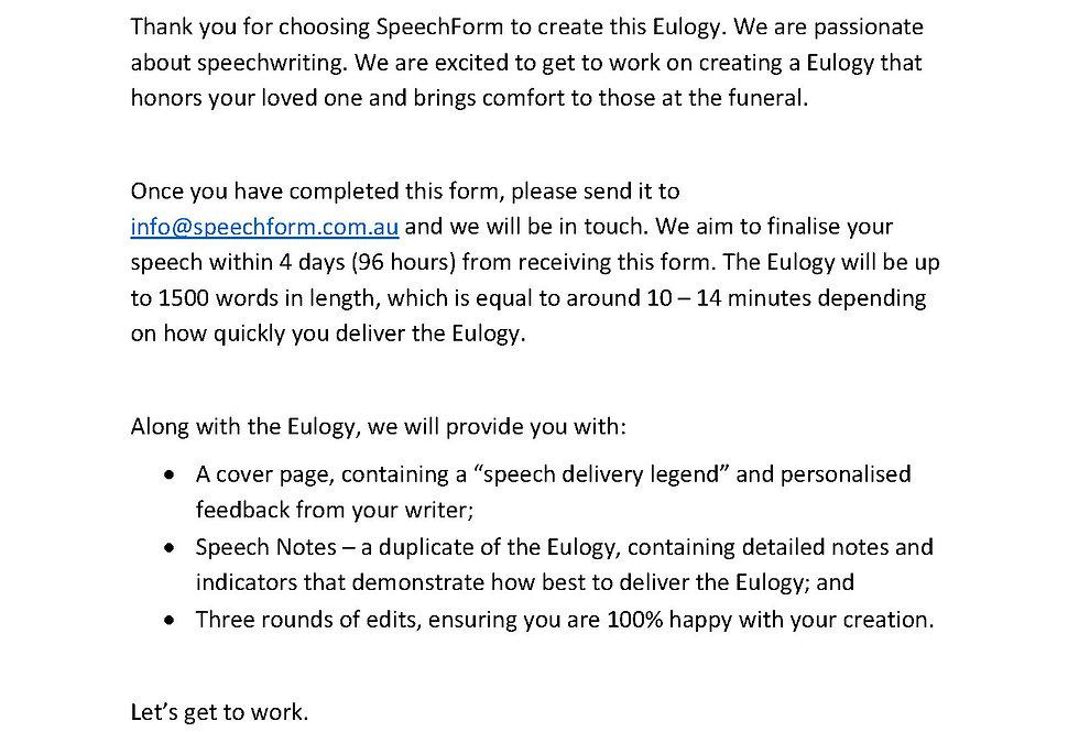 Eulogy - Custom (1500 words)