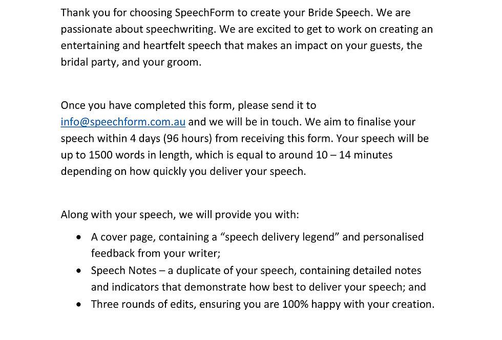 Bride Speech - Custom (1500 words)