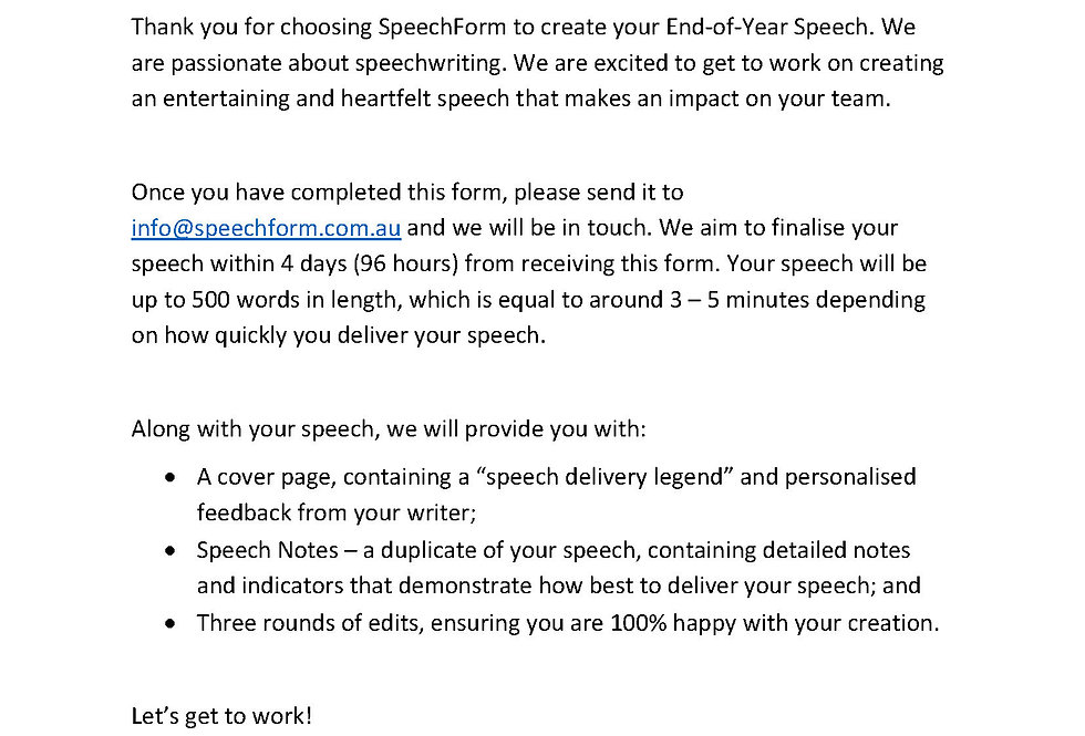 End-of-Year Speech - Custom (500 words)
