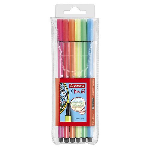Stabilo Pen 68 Marker Wallet Set -  6 Color Neon