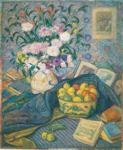 Vase with Bananas, Lemons and Books