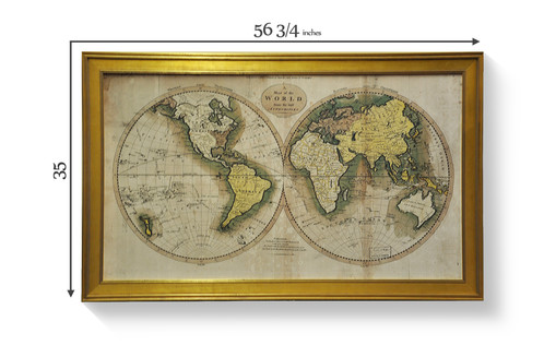 Antique world map mysite old world style global map from the 18th century tracking the endeavor of captain cook from 1768 to 1780 printed on canvas and mounted gumiabroncs Gallery