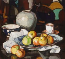 Still Life Apples and Jar