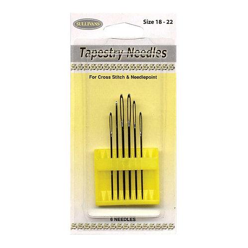Embroidery Needles - Tapestry Needles sizes 18 - 22 - 6/Pkg