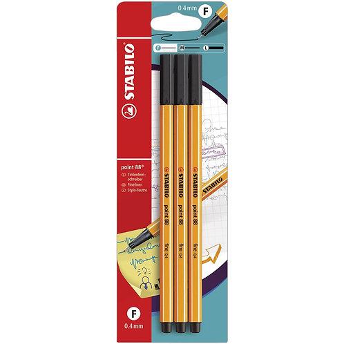 Stabilo Pen 88 Pen Set -  3/pk Black