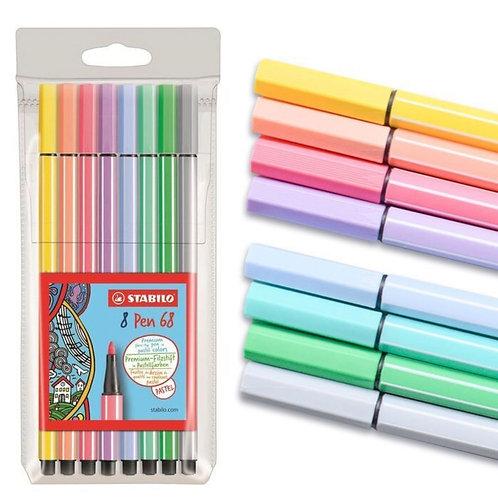 Stabilo Pen 68 Marker Wallet Set -  8 Color Pastel