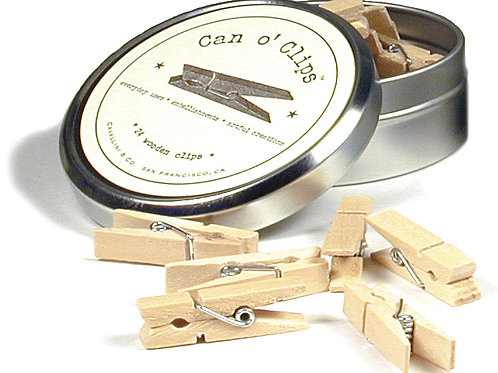Can o' Clips Clothespins - Natural Wood - 24/Pkg