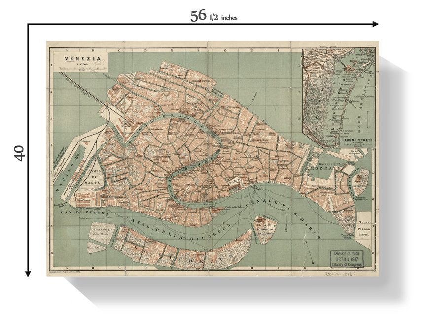 Map Of Italy Showing Venice.19th Century Map Of Venice