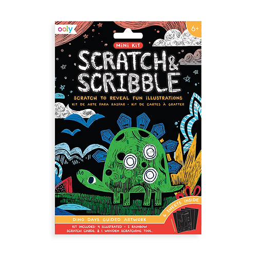 OOLY Mini Scratch & Scribble Art Kits - Dino Days