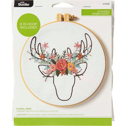 Stamped Embroidery Kit - Floral Deer