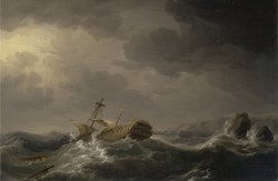 Ship Wrecked on a Rocky Coast