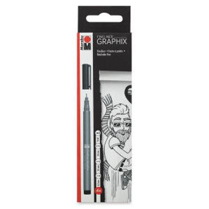 Marabu Graphix Fineliner Sets -  4 Pen Black Set
