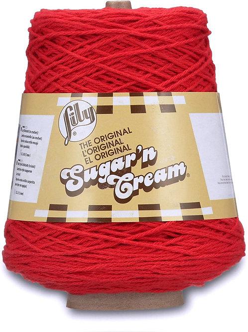 Lily Sugar 'N Cream Solids Yarn Cone - Red 14oz