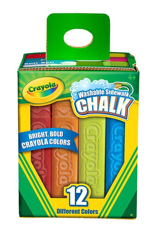 Crayola Washable Sidewalk Chalk - Colored (12/Box)