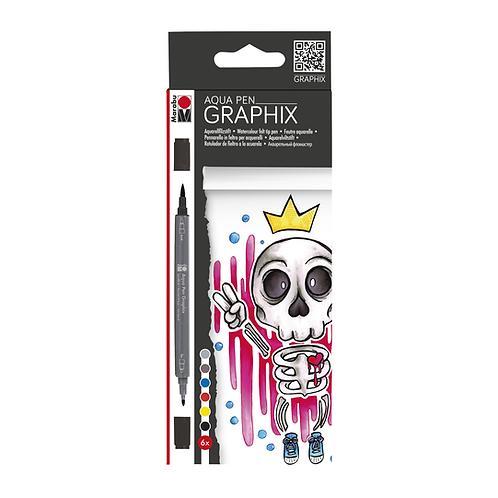 Marabu Graphix Aqua Pen Sets - King of Bubblegum 6 Color Set