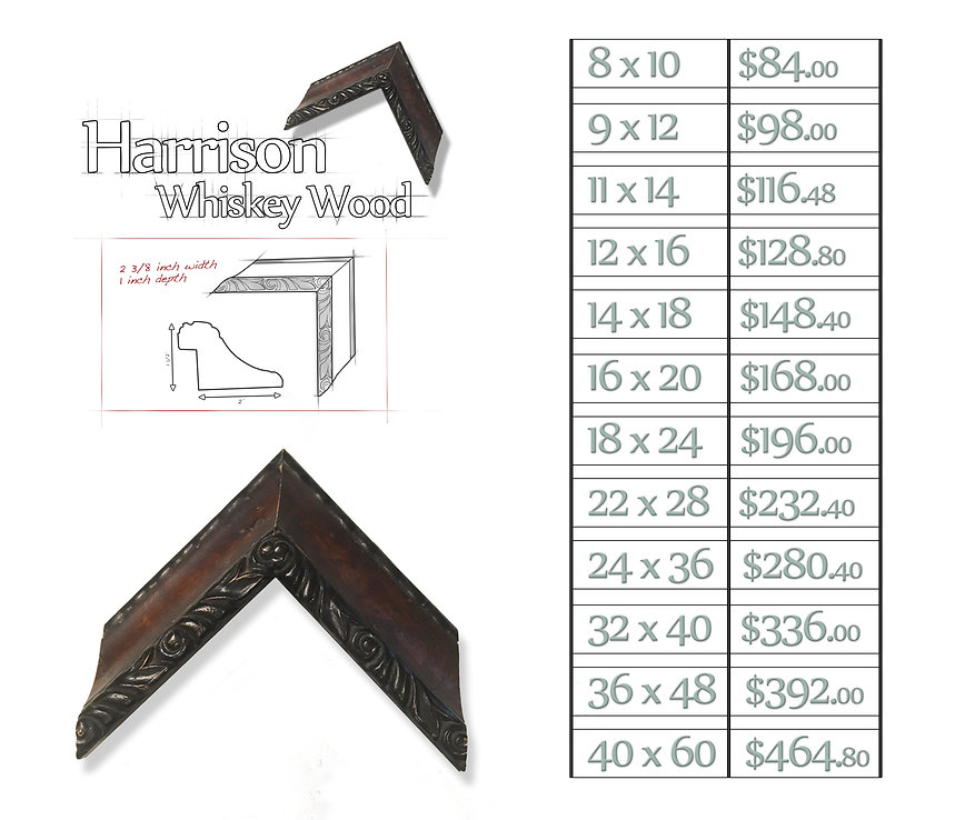 Time Capsule Framing Harrison Whiskey Wood Frame and Price