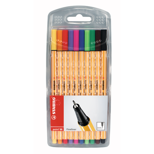Stabilo Pen 88 Pen Wallet Set -  10 Color