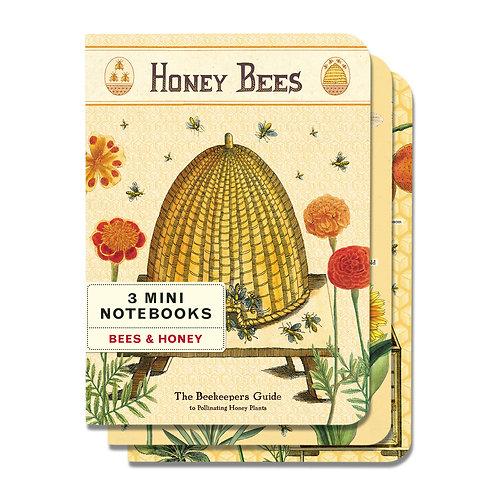 Mini Notebook Set - Bees & Honey - 3/Pkg