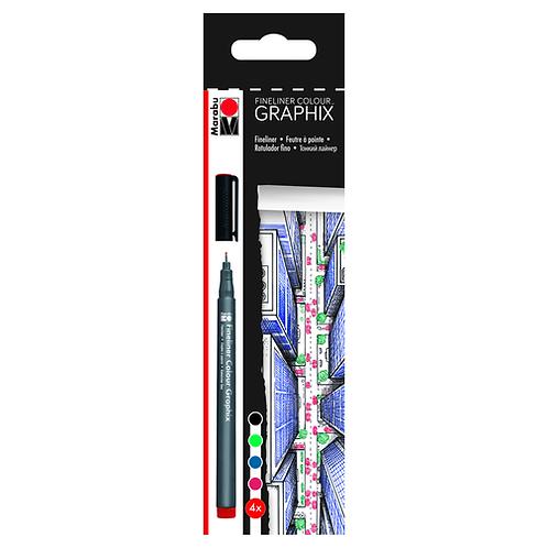 Marabu Graphix Fineliner Sets -  4 Color Skyline Set