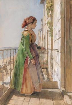 A Greek Girl Standing on a Balcony