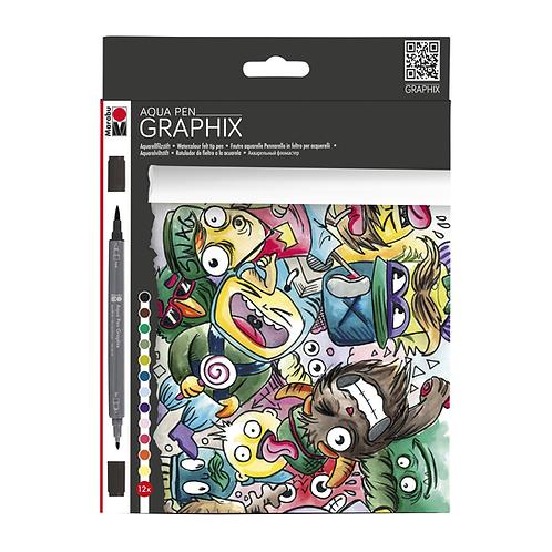Marabu Graphix Aqua Pen Sets - Mega Mash 12 Color Set