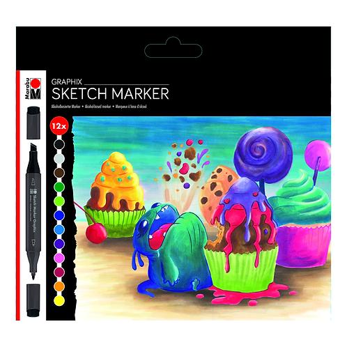Graphix Sketch Marker Sets - 12 Color Sugarholic Set