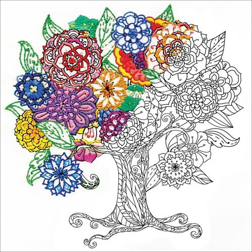 Zenbroidery Stamped Embroidery Kit - Tree 10x10