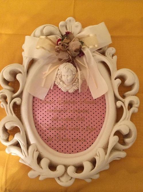 quadro anjo de ceramica oracao
